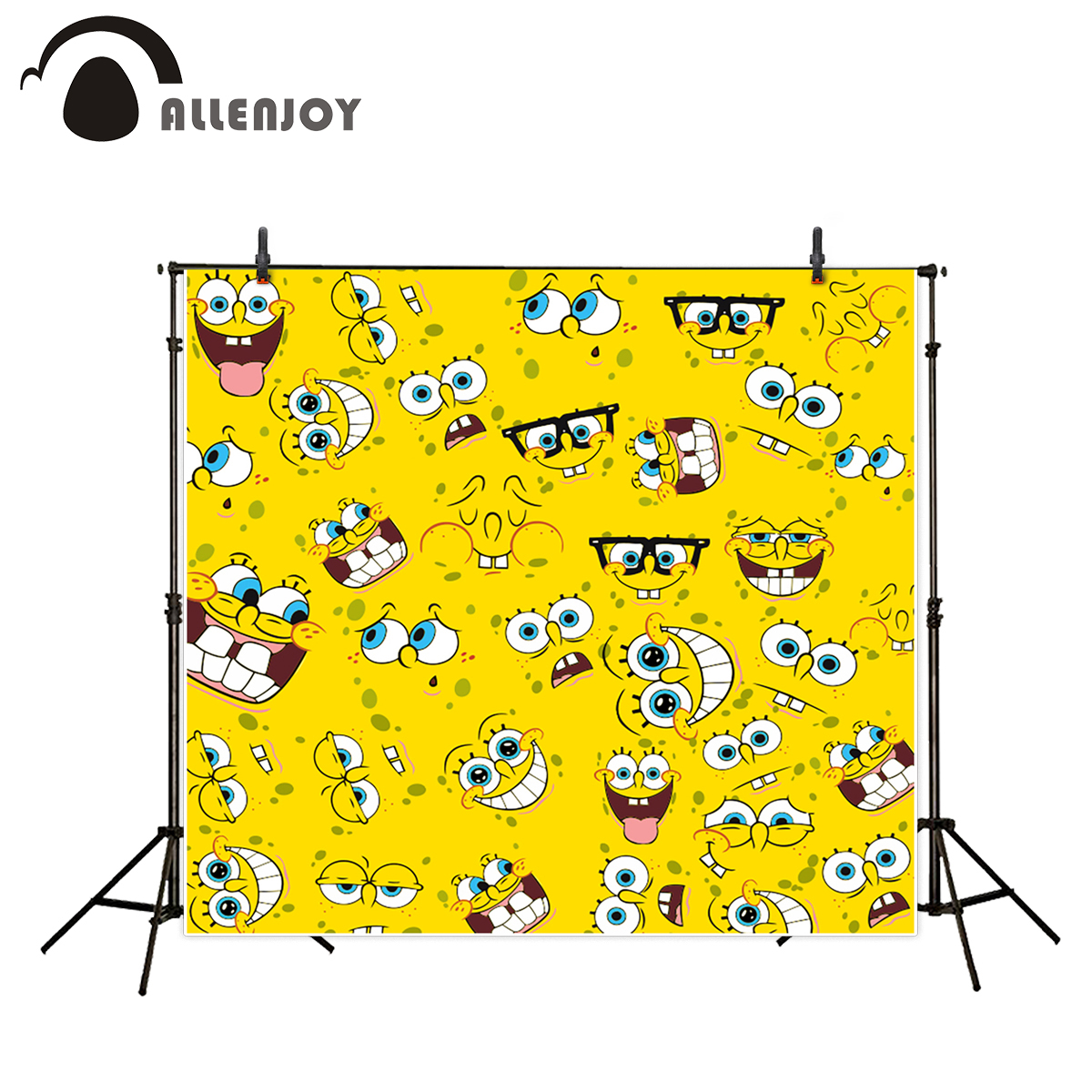цены  Allenjoy photographic background Yellow funny cartoon children sponge baby show photography backdrops photo studio props