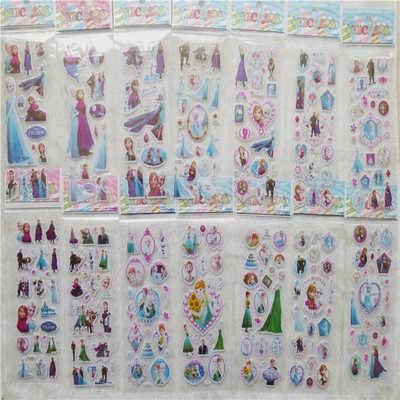 Baru 12 Lembar/Banyak Populer Beku Elsa dan Anna 3D Vinyl Anak-anak Hewan Peliharaan Anak-anak Stiker Mainan Stiker Gelembung Mengajar