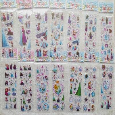 NEW 12 sheets/lot Popular frozen elsa and Anna 3d vinyl Children Pet Kids Stickers Toys Bubble Teache