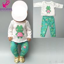 цены на 43cm doll clothes for new born Baby doll clothes pants set green frog for 18 inch doll spring clothes  в интернет-магазинах