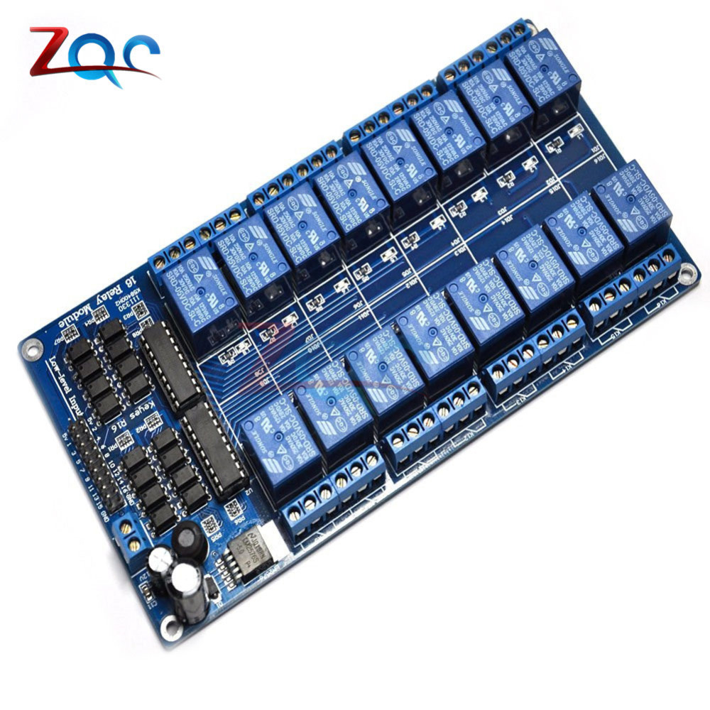 DC 5V 16 Channel Relay Module Interface Board for Arduino PIC ARM DSP PLC With Optocoupler Protection LM2576 Power 16Channel electronic transistor relay 16 channel dc amplifier circuit board