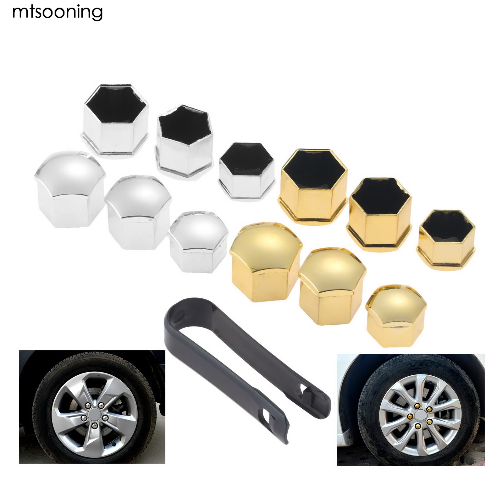Mtsooning 20Pcs Gray Car Styling Wheel Nut Protection Auto Hub Screw Bolt Head Cover Tire Protector 19mm Plastic Remover Tool