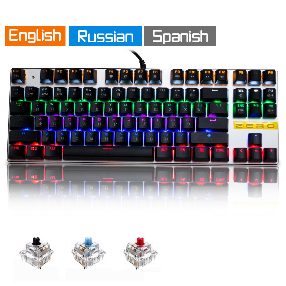 Me Too Original gaming Mechanical Keyboard 87 key Wired keyboard blue/red/black switch Backlit Keyboard English/Russian/Spanish professional mini bluetooth wireless backlit gaming mechanical keyboard blue black red brown switch wired game keyboard for pc
