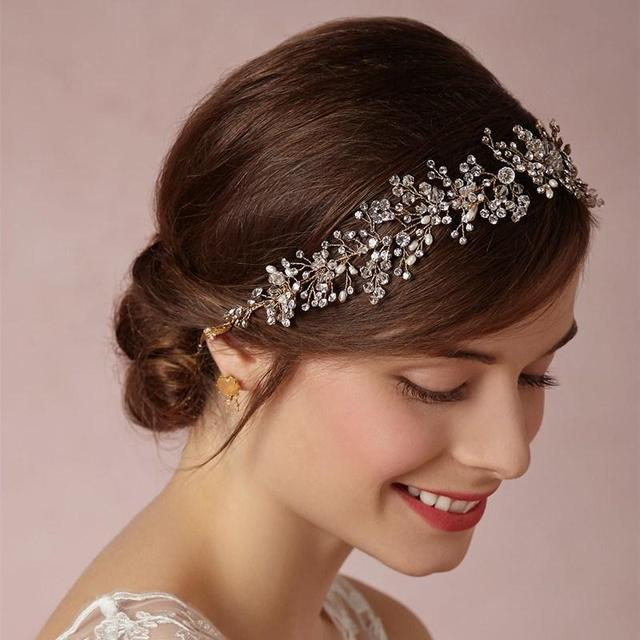 Idealway Bridal Hair Ornaments Long Vine Pearl Headband For Women Crystal Flower Tiara Head Chain