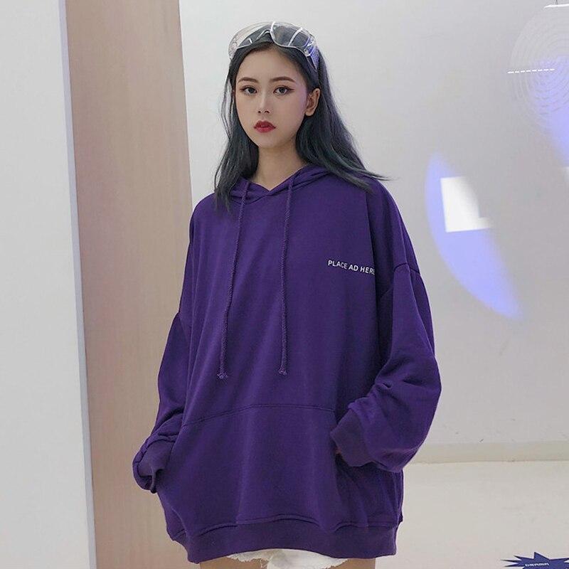 Oversized Women Hoodie 18 BF Harajuku Letter Print Sweatshirt Loose Long Batwing Sleeve Hooded Tracksuit Female Puple K-pop Tops