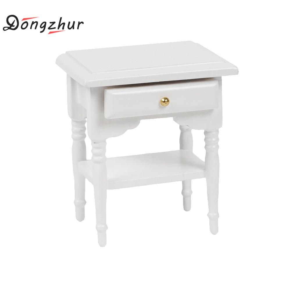 Dongzhur 1:12 Miniature Furniture Wooden Bedside Cabinet White Furniture  Toys Modern Bedside Cabinet Toy Doll House Accessory In Dolls Accessories  From Toys ...