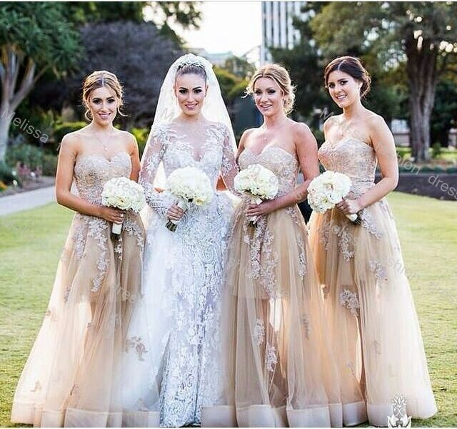 0d79a861e644d1 Strapless Sweetheart Floor Length Lace and Organza Champagne Color  Bridesmaid Dresses 2016-in Bridesmaid Dresses from Weddings & Events on  Aliexpress.com ...
