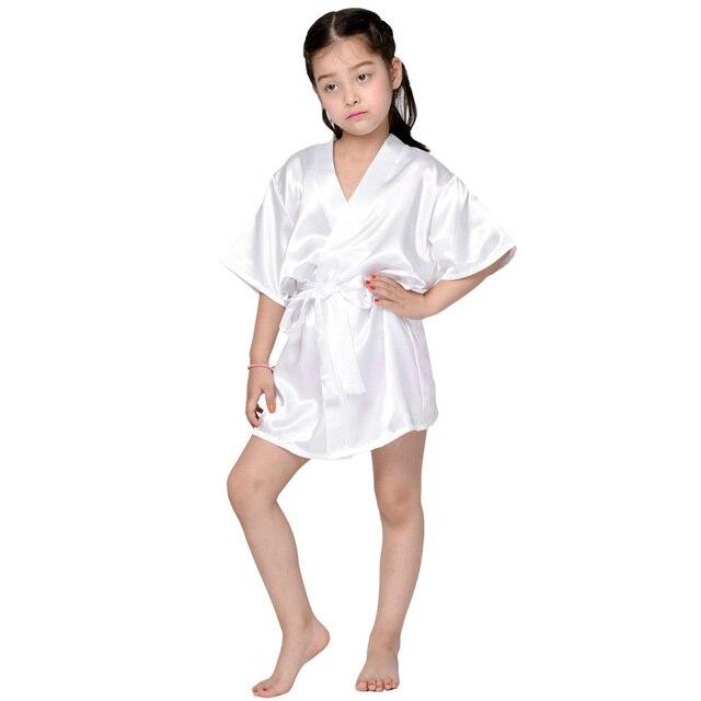 Mr   Mrs Right Child Solid Robe For Wedding Party Little Bridesmaid Robe  Satin Silk Pajamas Kimono Style Robe Bathrobe for Kids 37a3d21b6