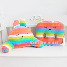 Hot selling CRAFT Colorful Rainbow Bunny lumbar pillow office waist pillow free shipping