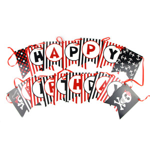 Image 2 - Pirate Happy Birthday Banner Pirate Theme Polka Dots Striped Printed Pirate Party Pirate Banner Photo Prop Happy First Birthday