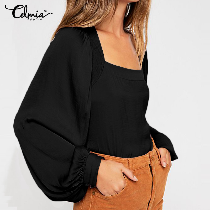 2019 Fashion Tunic Tops Women Solid Casual Blouses Celmia Autumn Long Sleeve Ladies Loose Work Chemiser Soild Blusas Mujer S-5XL(China)