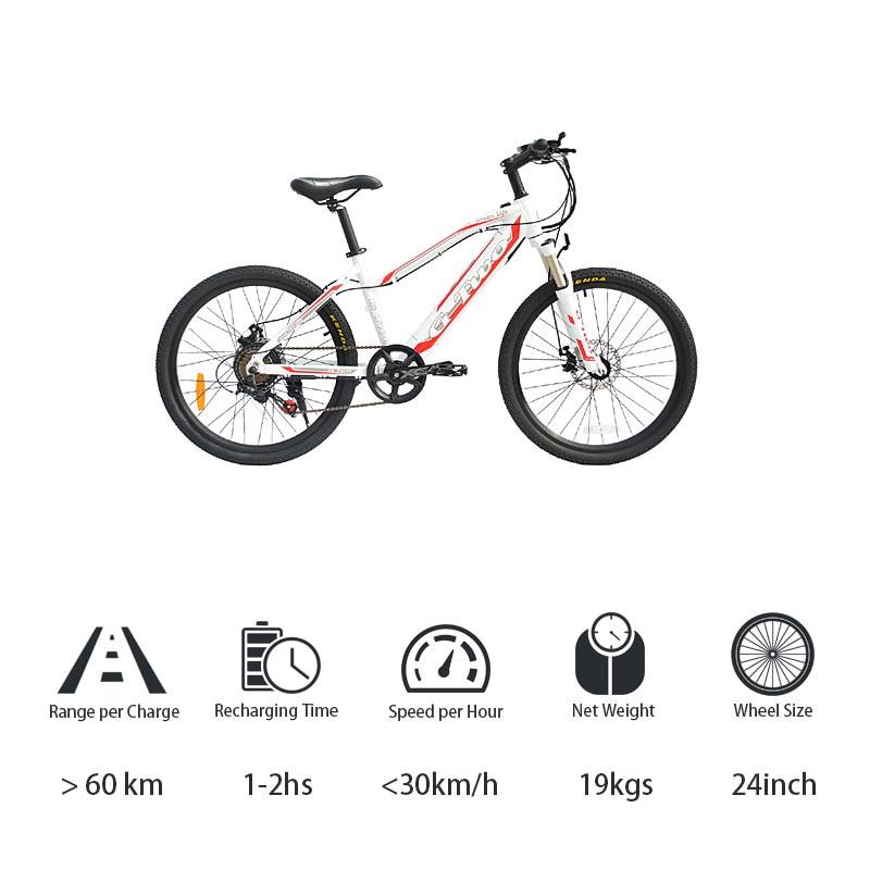 24'' Electric Bike Mountain Bicycle,7 Speed Disc Brake