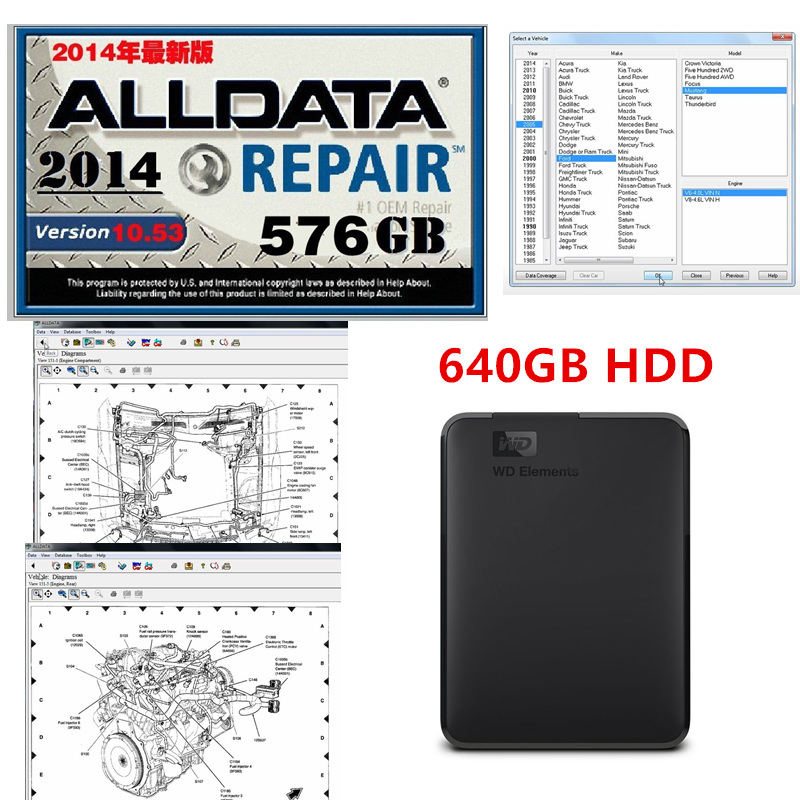 Software Alldata Auto Diagnostic Auto-Repair Hot V10.53 HDD 640GB Free-Install Support-Windows-7/8