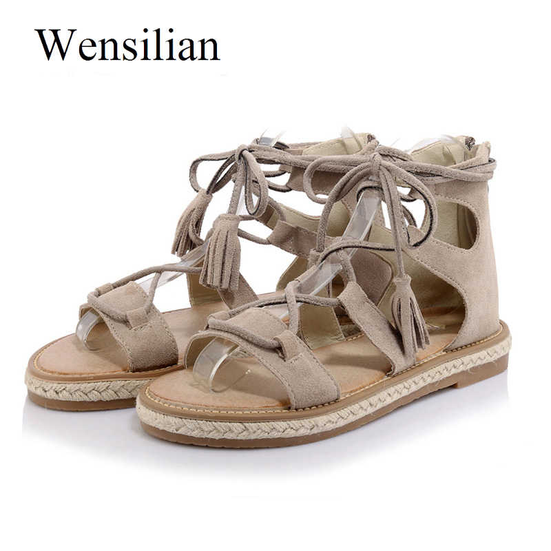 Summer Gladiator Sandals Women Lace-up Shoes Peep Toe Casual Flat Sandals Tassel Cross Tied Beach Shoes Black Sandalia Feminina