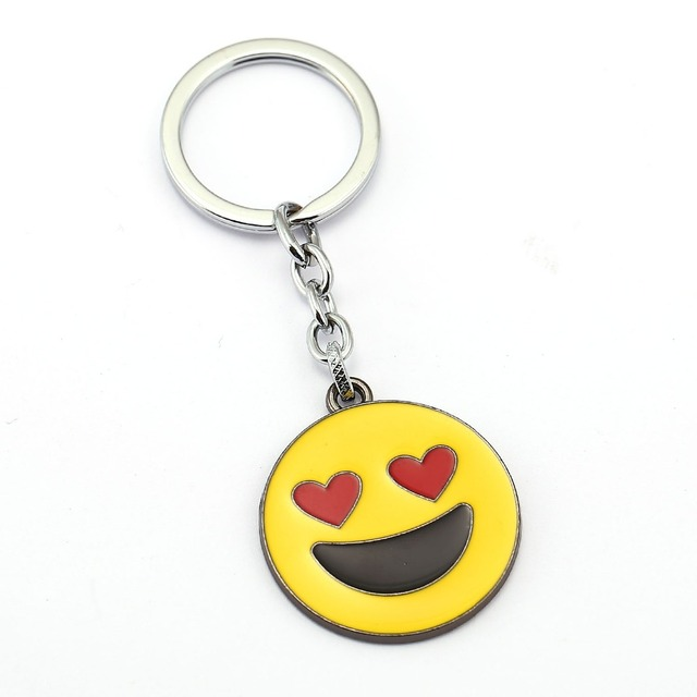JM 9 Styles/lot Yellow Smile Model Alloy Keychain Cartoon Smiles Face Happiness Symbol Key Chain Ring Best Gift llaveros