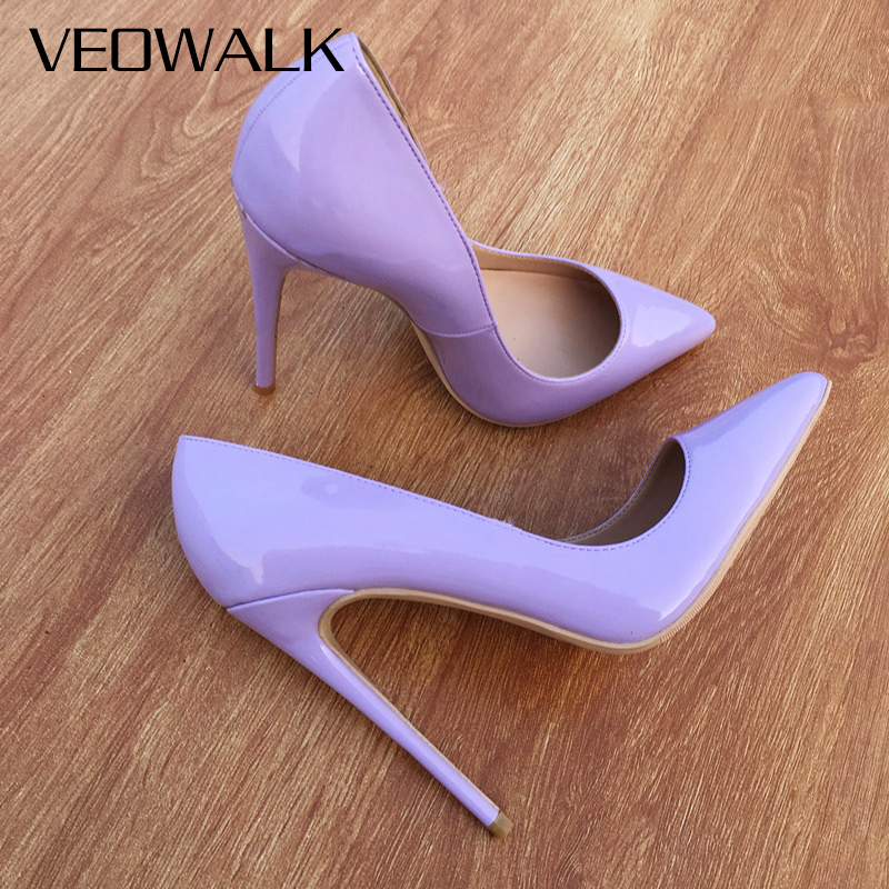 Veowalk Classic Design Women Pointed Toe High Heel Shoes Elegant OL Ladies Fashion Slip On Pumps Woman Stilettos Light Purple