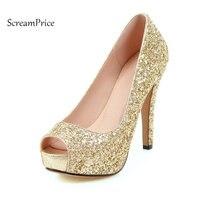 الجديد بينغ اللمحة تو منصة مضخات رقيقة عالية الكعب امرأة مثير الزفاف أحذية عالية الكعب الربيع أوتون الضحلة أحذية أسود أحمر