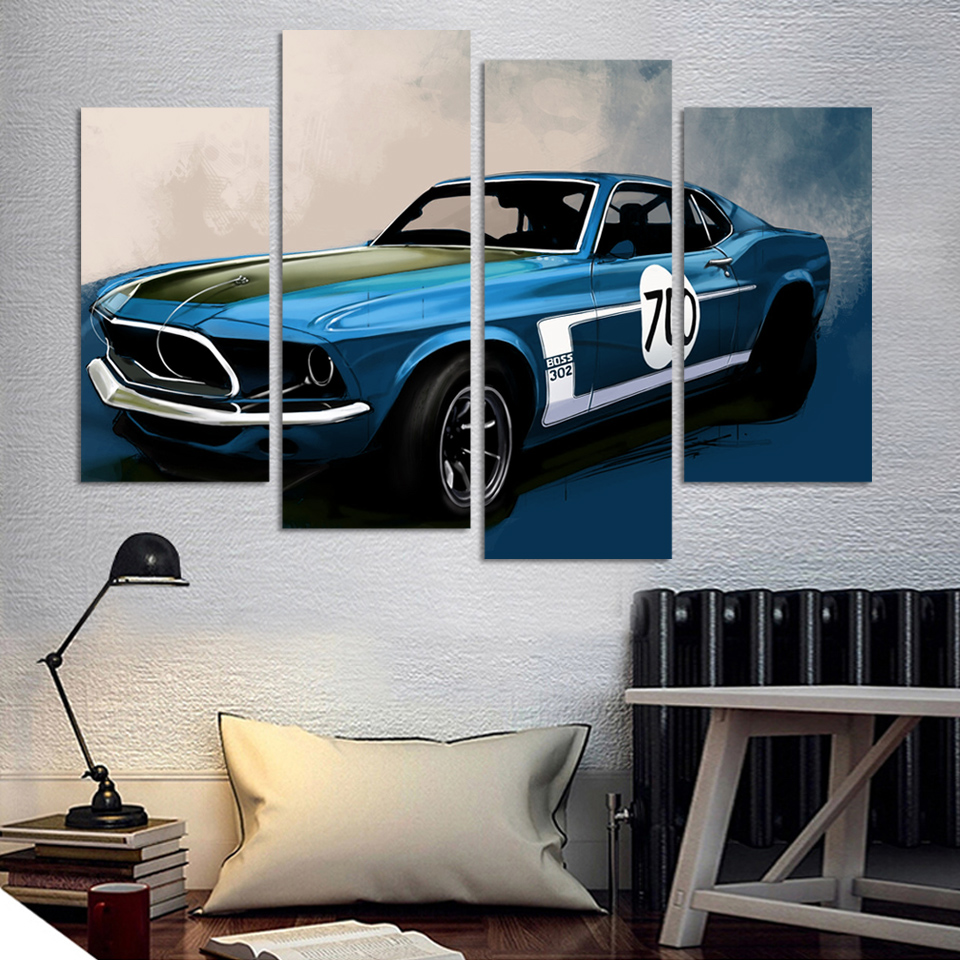 4 Pcs Blue Sports Car Wall Art painting Home Decoration Living Room Canvas Print Painting on canvas Wall picture