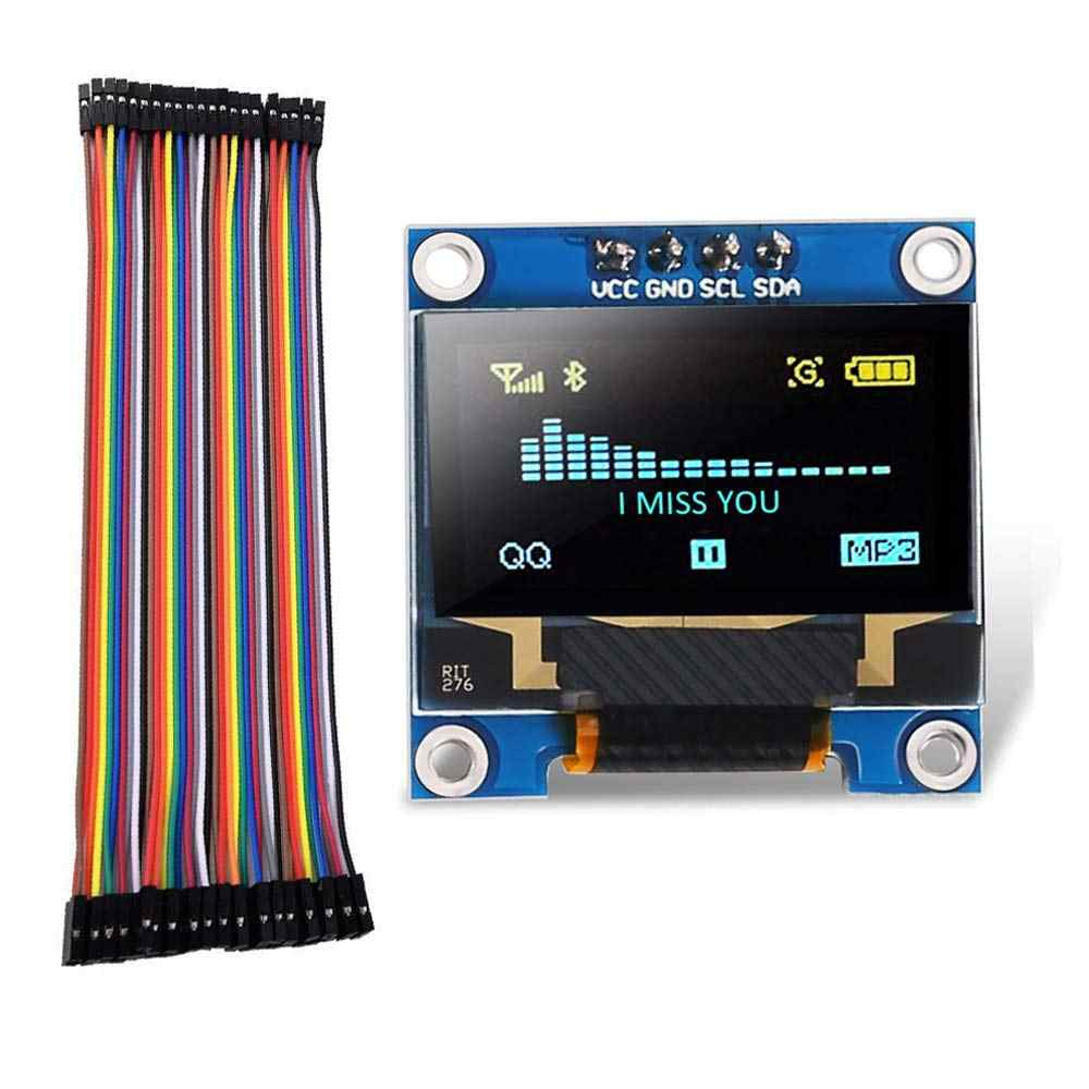 "0.96 ""OLED I2c IIC écran LCD Module affichage jaune bleu 128 64 3.3 V-5 V 128X64 pour Arduino affichage 40pin Dupont fils F à F"