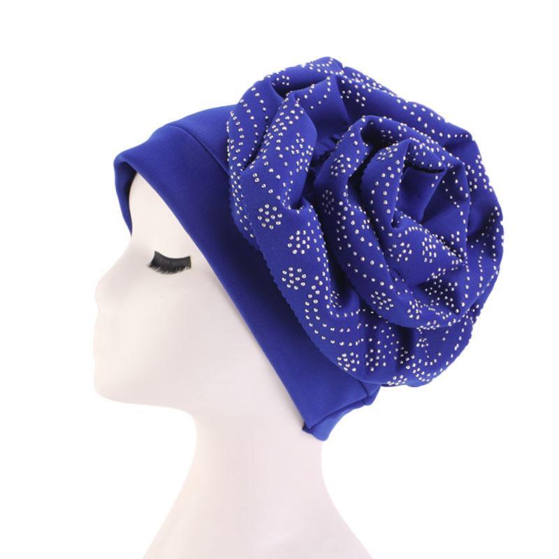 Image 4 - Muslim Hat Beanie Chemo Caps Shiny Glitter Turban Bandana Head  Wrap Cover Hair Accessories Women Turban Elegant FlowerWomens Skullies