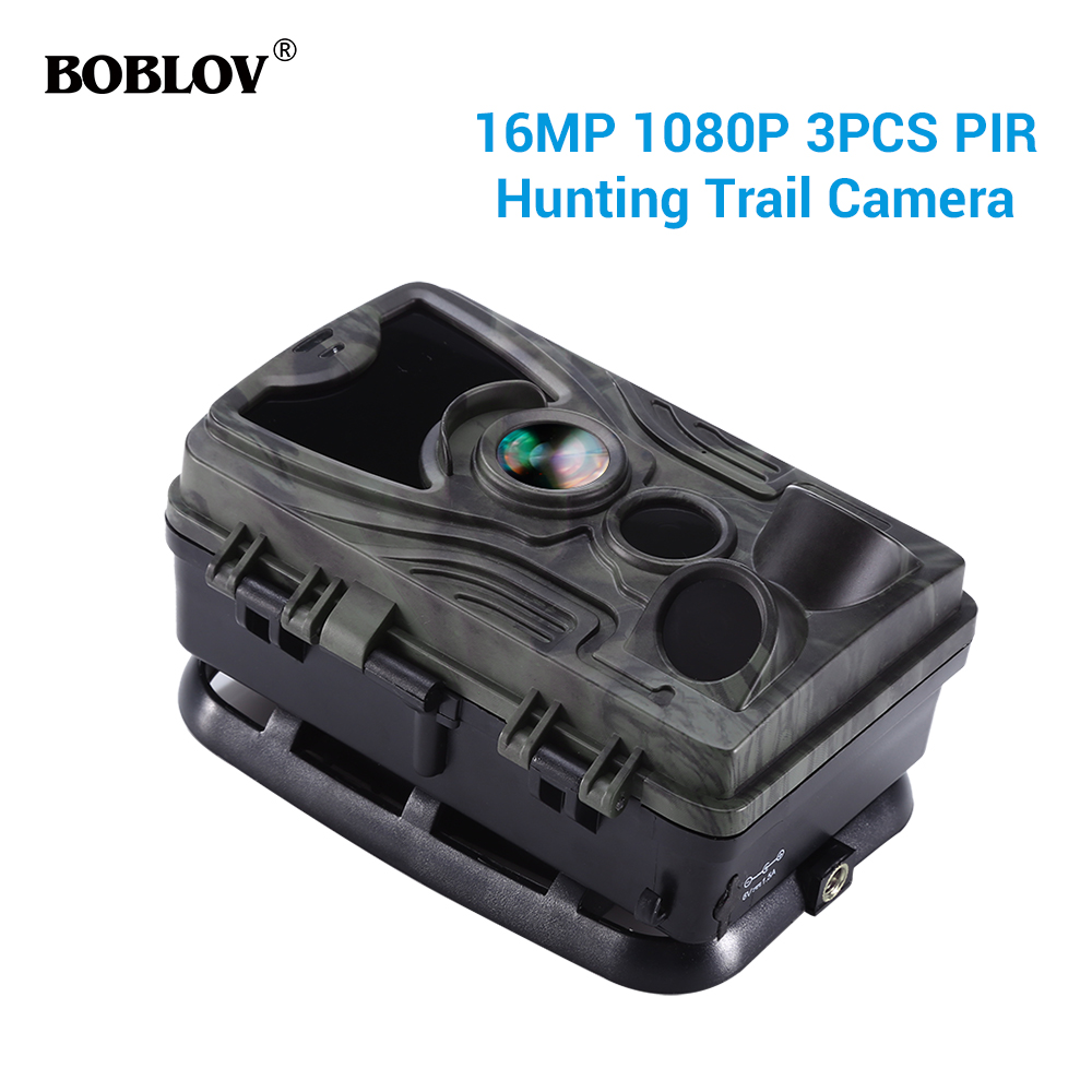 BOBLOV Hunting Trail Camera Night Version Wild Cameras 16MP 1080P IP65 Photo Trap 0.3s Trigger Wildlife Camera Surveillance-in Hunting Cameras from Sports & Entertainment