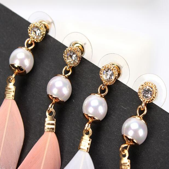 Pearl Pink & White Feather Earrings