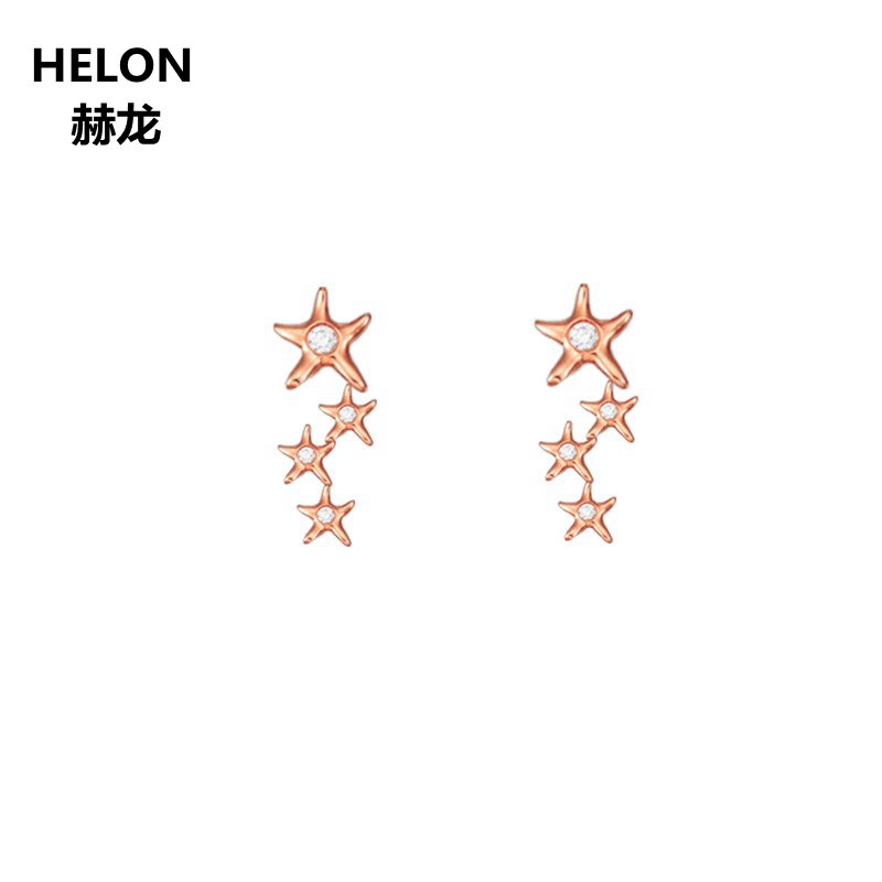 14 k 585 Oro Rosa SI/H Diamanti Naturali Orecchini con perno per Le Donne di Fidanzamento di Cerimonia Nuziale del Regalo di Anniversario