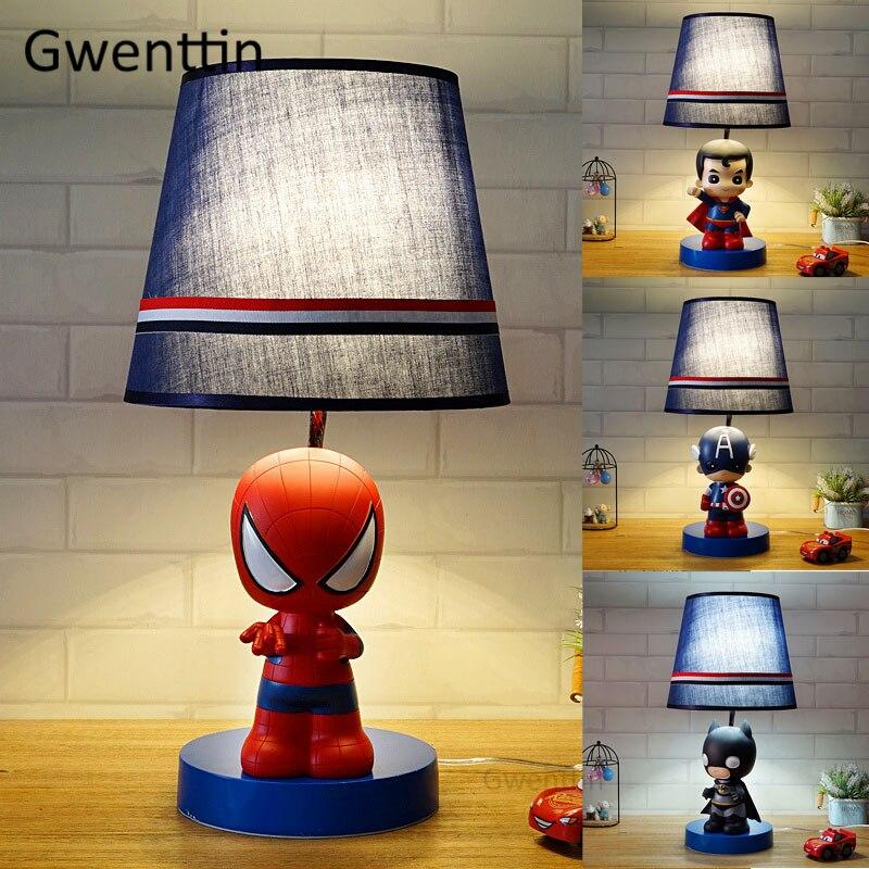 Cartoon Avengers LED Table Lamps Spiderman Desk Light Fixtures for Home Decor Children Bedroom Bedside Lamp