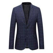 High Quality Men Blazer Fashion Plus Size Casual Mens Plaid Blazer Jacket 2018 Spring Long Sleeve Business Suit Coats Men 7XL-L