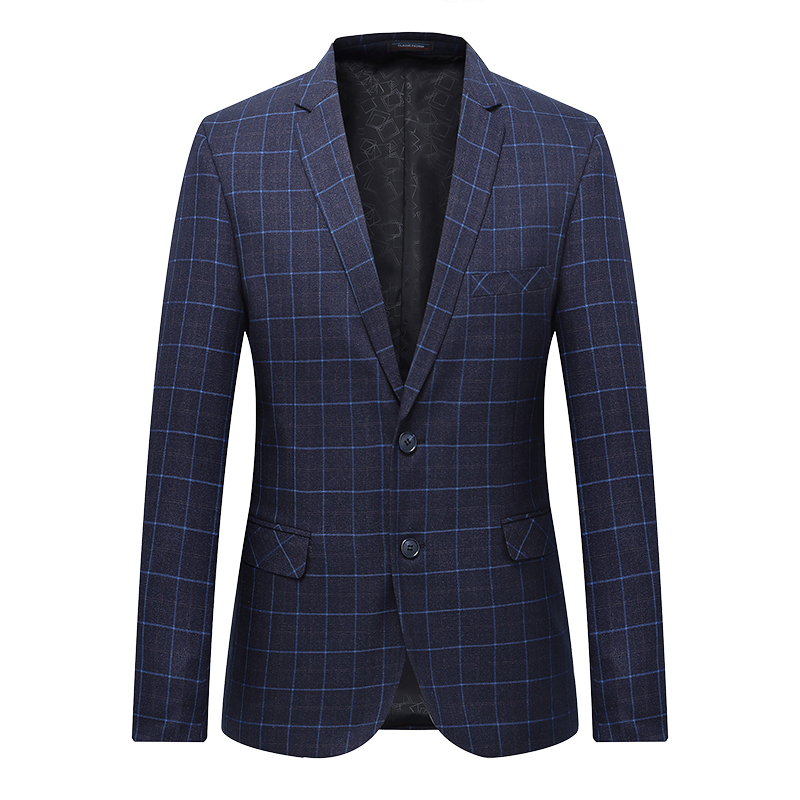 High Quality Men Blazer Fashion Plus Size Casual Mens Plaid Blazer Jacket 2019 Spring Long Sleeve Business Suit Coats Men 7XL-L