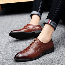 2018 new fashion spring/autumn casual split leather shoes man classic simple mens brogue shoes size 39-44 color black brown 5 стоимость