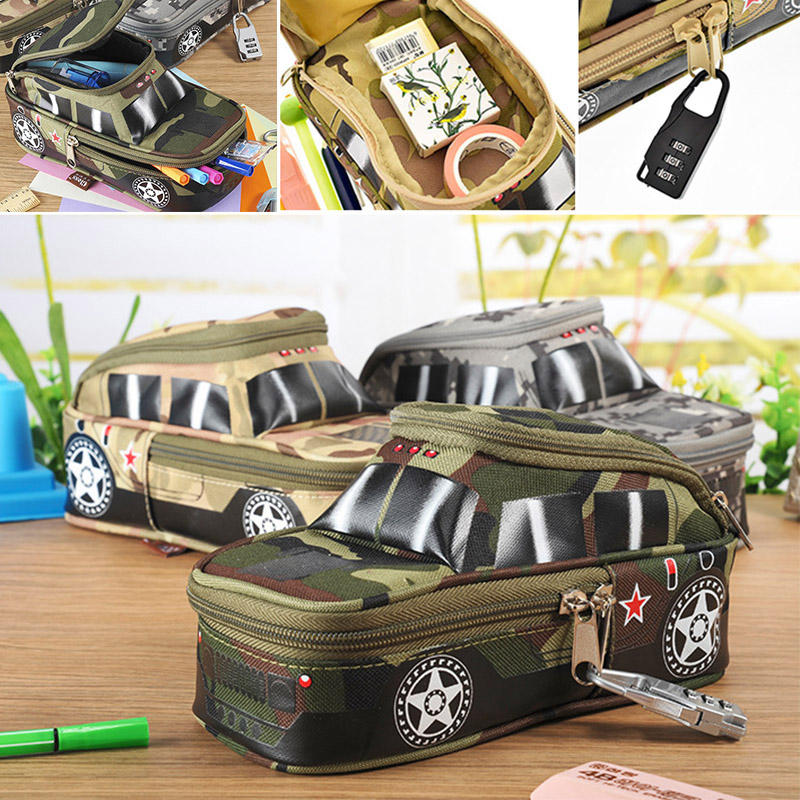 Student Large Creative SUV Style Pencil Case Camouflage Zipper Canvas Pen Bag With Lock For Boys Novelty Toy Items big capacity high quality canvas shark double layers pen pencil holder makeup case bag for school student with combination coded lock
