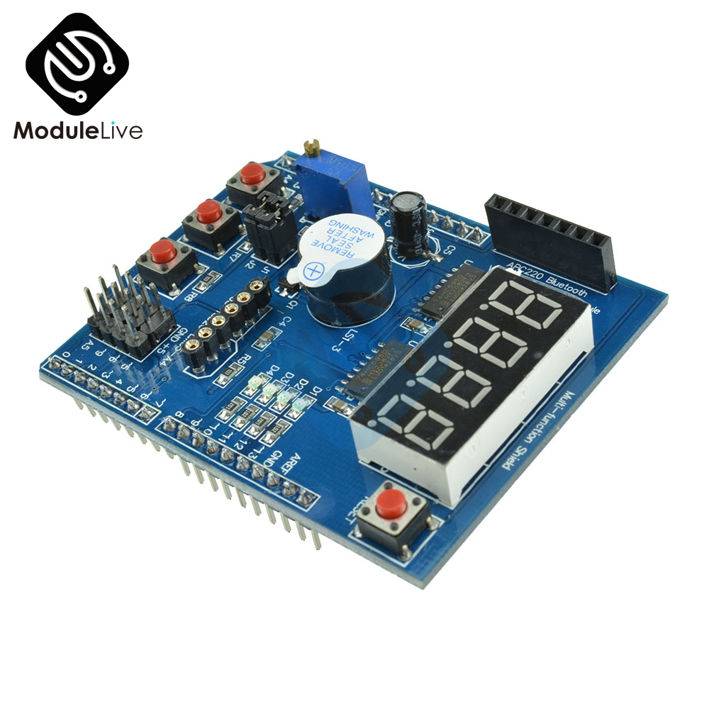 Multi Function Shield with Buzzer LM35 4 Digit Digital LED Expansion Board Voice Module for Arduino UNO R3 Lenardo Mega2560 relay shield v2 0 4 channel 5v relay swtich expansion drive board for arduino uno r3 development board module one