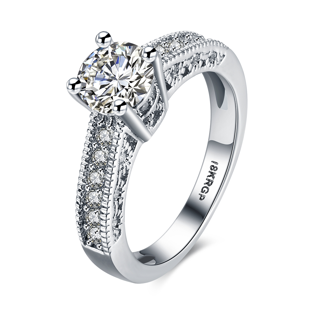 White Gold Color Finger Ring Taper Crystal Zircon Jewelry Prong Wedding  Accessories(china (mainland