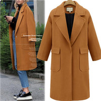 Fashion Women Winter Warm Wool Trench Coats Long Outwear Blends Women Casual Manteau Femme DS50135