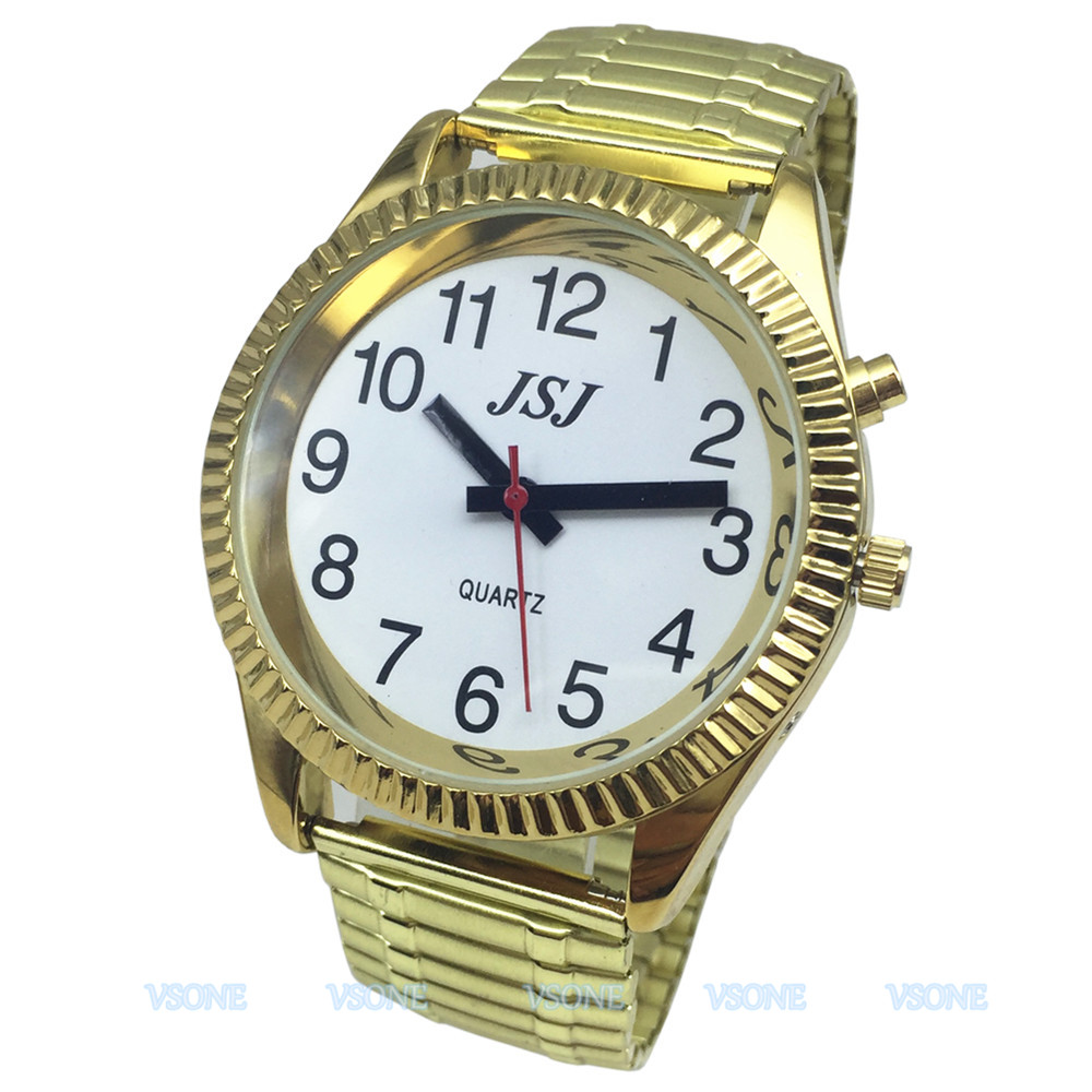 French Talking Watch, Talking  Date And Time, With Alarm Function, Golden Color, White Face