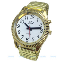 French Talking Watch  Talking  Date and Time  with Alarm Function  Golden Color  White Face|Lover's Watches|Watches -