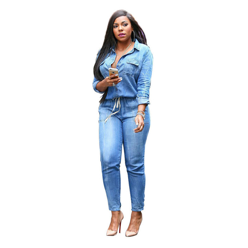 9793353a7b1 Women Denim Jumpsuits Drawstring Long Sleeve Tight Overalls Jeans Pants  Button Collar Shirt Club Wear Bodycon Rompers KZ236-in Jumpsuits from  Women s ...