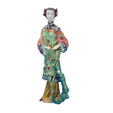 Glazed Pottery Statue Chinese Manual Porcelain Figurine Ceramic Ornament Lady Figure Sculpture Art Collectible Craft Home Decor