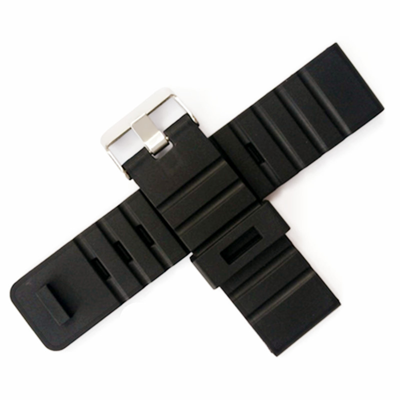 Generic 24 mm Black Silicone Rubber Strap Watch Band With Watches Buckle Belt With Accessories + Tools For Any Watch