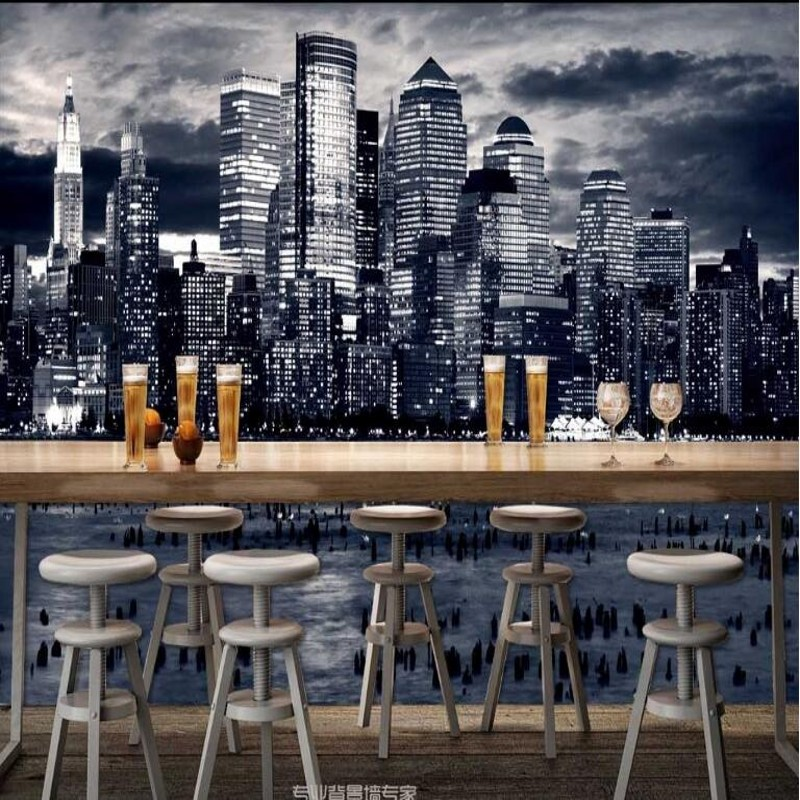 wellyu Custom large - scale murals the United States of America New York City night landscape wallpaper non - woven wallpaper image