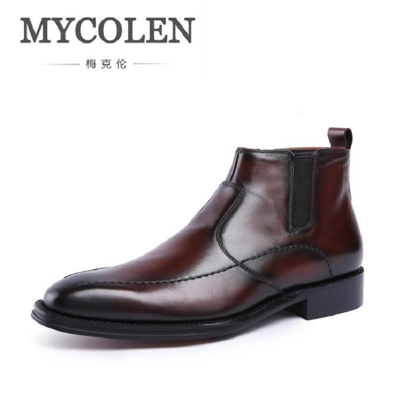 MYCOLEN Luxury Brand Autumn Mens Boot Handmade Genuine Leather Brown Boots For Man 2017 Newest Winter Boots Men Sapato Masculino mulinsen newest 2017 autumn winter men