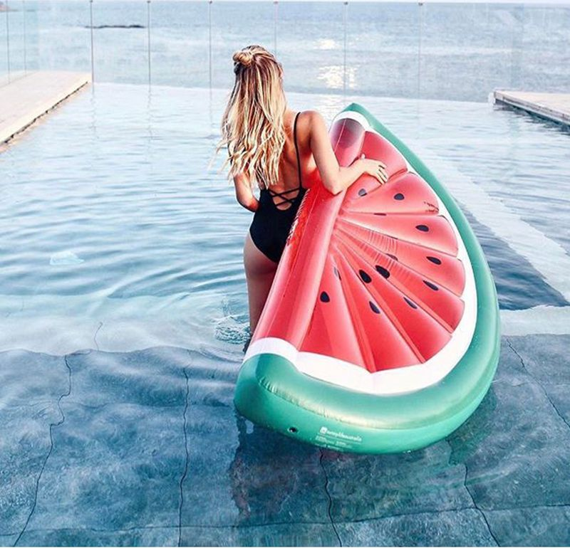 Air Mattresses Water Sports Hot!summer 70 Inchs Giant Inflatable Half Watermelon Floating Row Air Mattresses Blowup Fruit Women Swimming Ring Toys For Adult