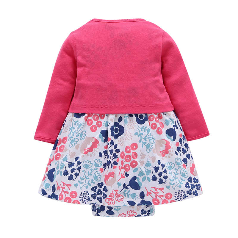 4043dd0ef2d5e Newborn Baby Girl Dress 2pcs Sets Floral Dresses + Long Sleeve Red Cardigan  Infant Toddle baby Girls Clothes set