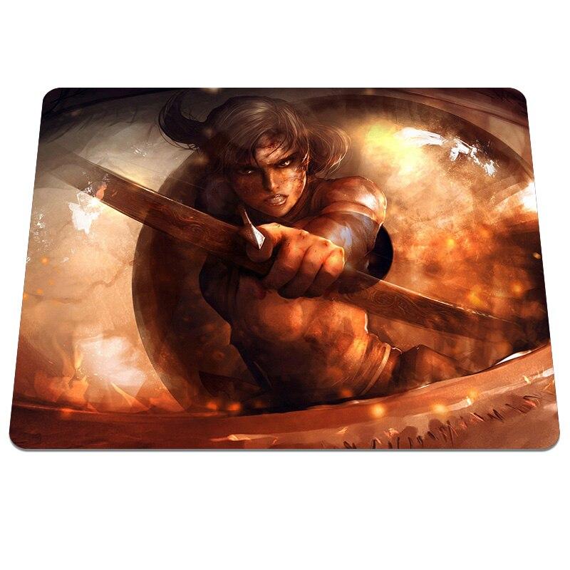 Hot top fashion Art Lara Croft Tomb Raider arrow Printing Pattern Optical Computer Mouse Mat Spft Silicone Rectangular Mouse Pad
