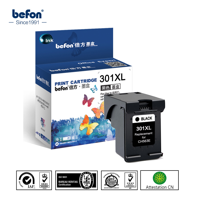 befon Black 301XL Re-manufactured Cartridge Replacement for HP 301 Ink Cartridge for DeskJet 1050 2050 3050 2150 3150 1010 1510