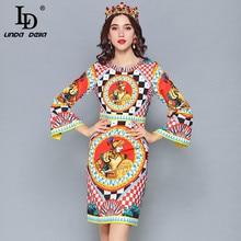 LD LINDA DELLA 2019 Spr ing Fashion Runway Dress Womens Long Sleeve Warrior Printed Vintage vestido Holiday Dresses
