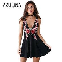 AZULINA Embroidery Summer Dress Women Sleeveless Floral Sexy A line Mini Dress Black Short Casual Sundress Vestido Robe Femme