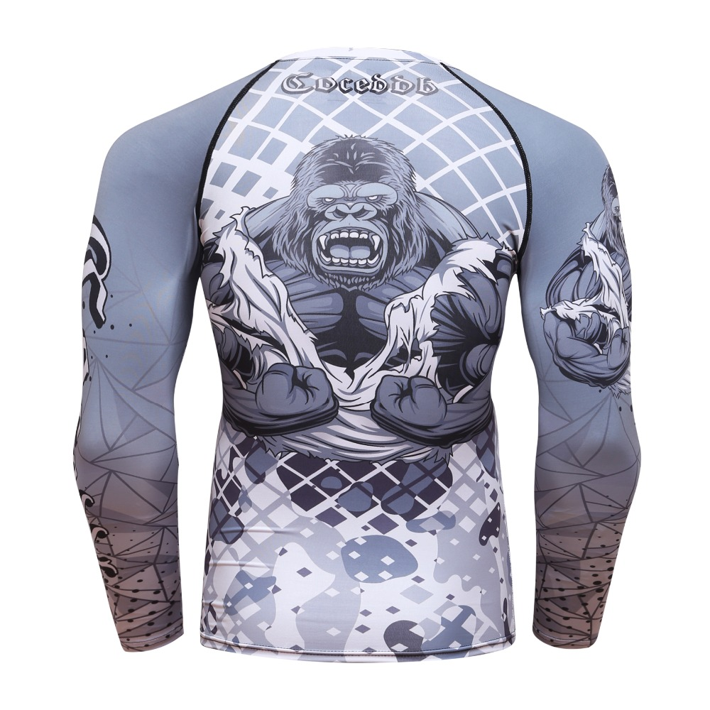 9aaac4cf2959 2018 Mens Fitness Compression O Neck Long Sleeves T Shirt Animal 3D ...
