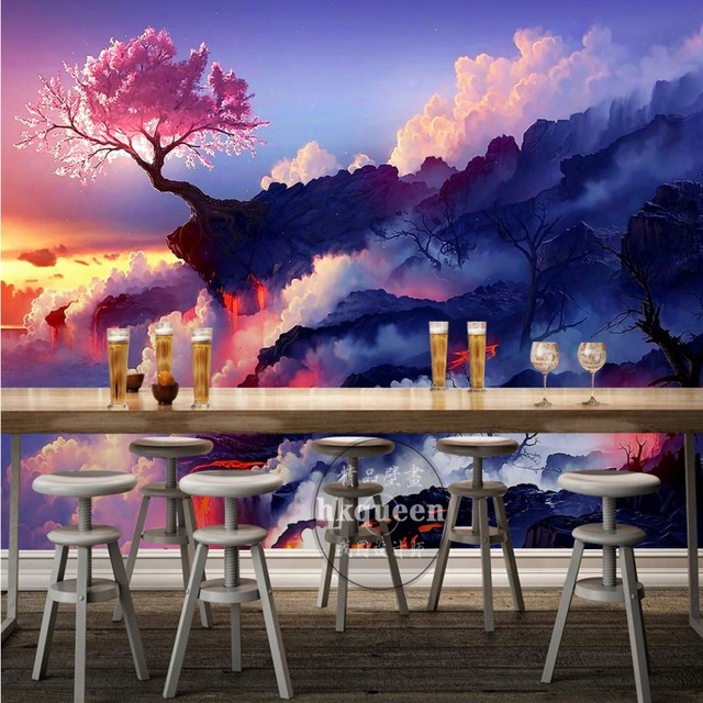 aesthetic dream clouds purple landscape bedroom sunrise huangshan mural mouse wallpapers